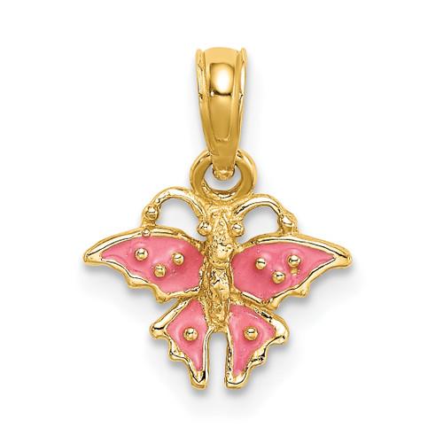 Lex & Lu 14k Yellow Gold Mini Pink Butterfly / Enamel Charm - Lex & Lu