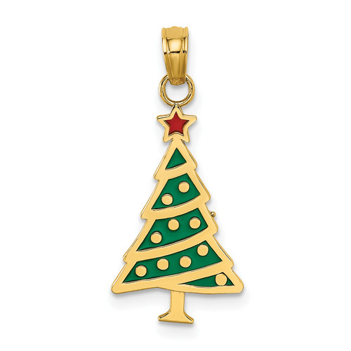 Lex & Lu 14k Yellow Gold Enamel Green Christmas Tree w/Red Star Charm-Lex & Lu
