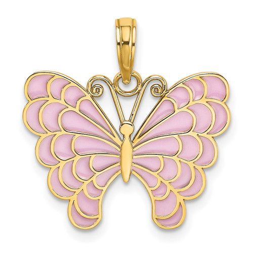 Lex & Lu 14k Yellow Gold Butterfly w/Lavender Stained Glass Wings Charm-Lex & Lu