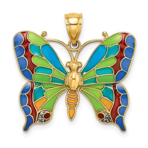 Lex & Lu 14k Yellow Gold Enameled Butterfly Pendant-Lex & Lu