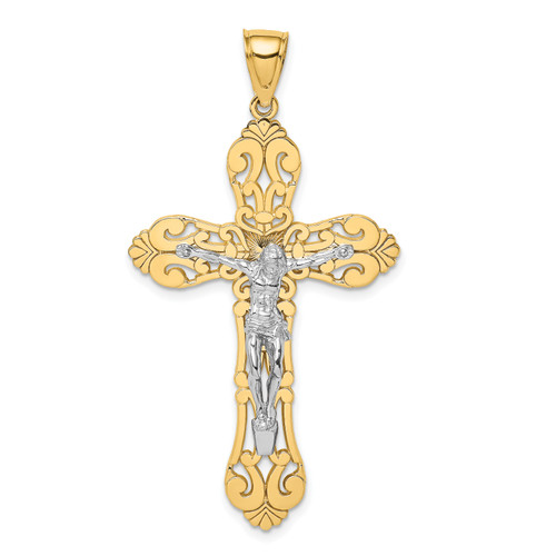 Lex & Lu 14 Yellow Gold w/RhodiumCrucifix Charm - Lex & Lu