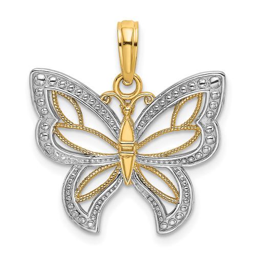 Lex & Lu 14k Yellow Gold w/Rhodium Butterfly w/White Beaded Wings Charm-Lex & Lu