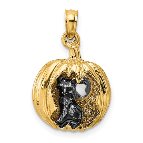 Lex & Lu 14k Yellow Gold w/Rhodium 3D Jack-o-Lantern w/Enameled Black Cat and Moon Charm-Lex & Lu