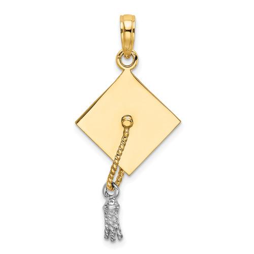 Lex & Lu 14k Yellow Gold w/Rhodium 3D Graduation Cap Moveable Tassle Charm - Lex & Lu