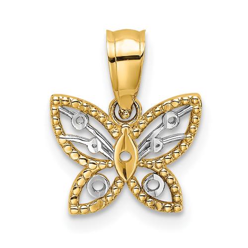 Lex & Lu 14k Yellow Gold w/Rhodium Mini D/C Butterfly Charm - Lex & Lu