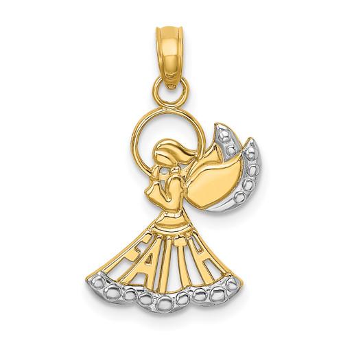 Lex & Lu 14k Yellow Gold w/Rhodium Polished and Textured Angel w/Faith Charm - Lex & Lu