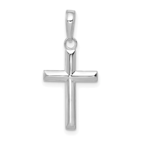 Lex & Lu 14k White Gold Small Cross Pendant-Lex & Lu
