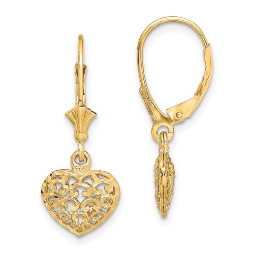 Lex & Lu 14k Yellow Gold w/Beaded Filigree Winged Dragonfly Leverback Earrings-Lex & Lu
