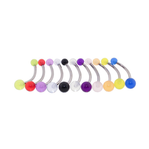 "Lex & Lu 11 Pack Steel Belly Ring 14 Gauge 7/16"" Long w/UV Sensitive Acrylic 4x6mm Balls-Lex & Lu"