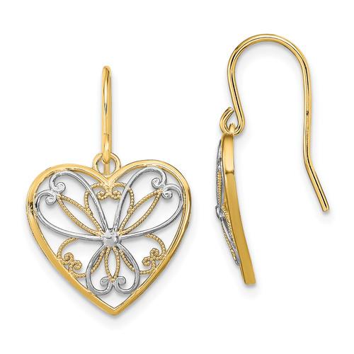 Lex & Lu 14k Yellow Gold w/Rhodium Polished Filigree Heart Shepherd Hook Earrings LALTF1879-Lex & Lu