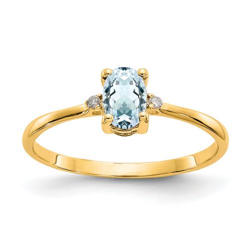 Lex & Lu 14k Yellow Gold Diamond and Aquamarine Birthstone Ring Size 6 - Lex & Lu