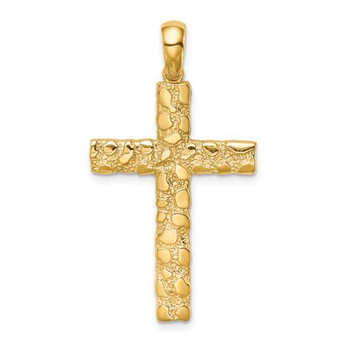 Lex & Lu 14k Yellow Gold Nugget Cross Pendant LALXR1834-Lex & Lu