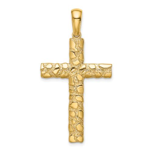 Lex & Lu 14k Yellow Gold Nugget Cross Pendant LALXR1835-Lex & Lu