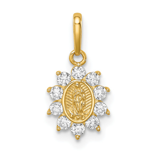 Lex & Lu 14k Yellow Gold Our Lady of Guadalupe CZ Pendant-Lex & Lu