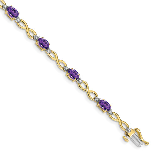 Lex & Lu 10k Yellow Gold Amethyst/Diamond Bracelet-Lex & Lu