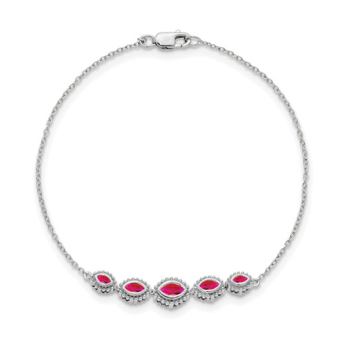 Lex & Lu 14k White Gold Ruby Bracelet-Lex & Lu