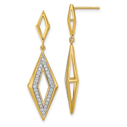Lex & Lu 14k Yellow Gold Polished Diamond Dangle Post Earrings - Lex & Lu