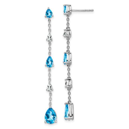 Lex & Lu 14k White Gold Blue Topaz and White Topaz Earrings-Lex & Lu
