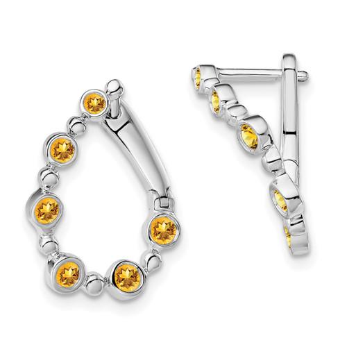Lex & Lu 14k White Gold Citrine Earrings LAL1506-Lex & Lu