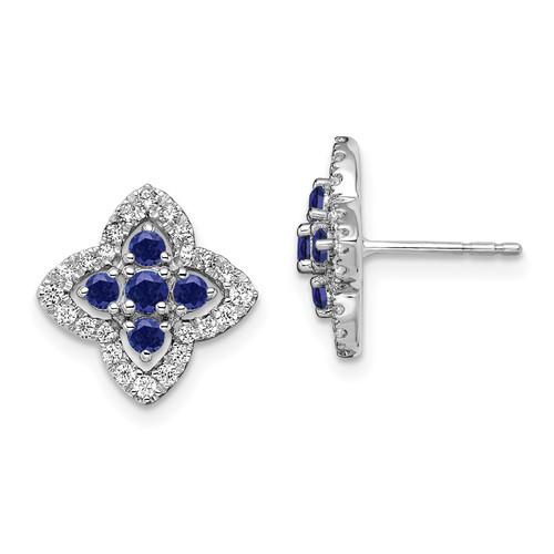Lex & Lu 14k White Gold Lab Created Diamonds Blue Sapphire Earrings - Lex & Lu