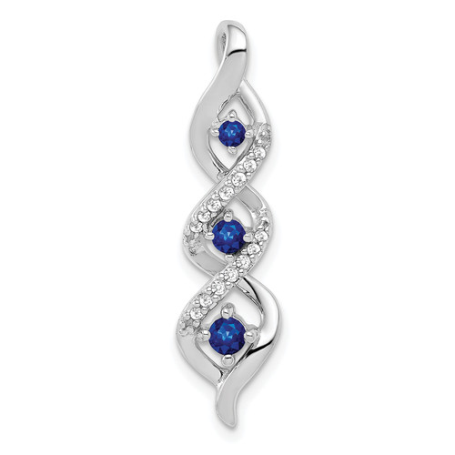 Lex & Lu 10k White Gold Diamond & .26 Sapphire Fancy Twisted Chain Slide Pendant-Lex & Lu