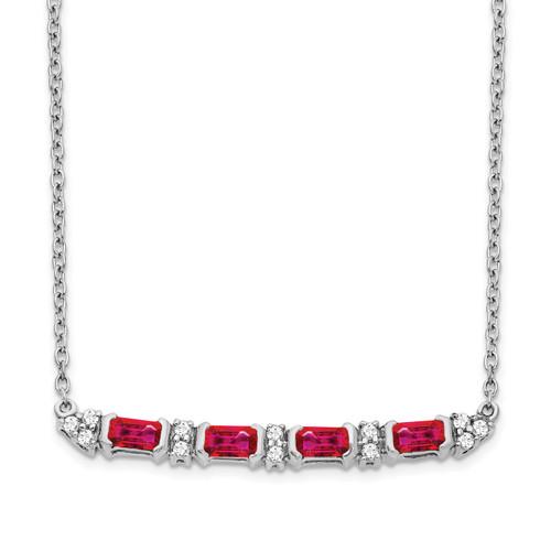 Lex & Lu 14k White Gold Ruby and Diamond Necklace LAL3472 - Lex & Lu