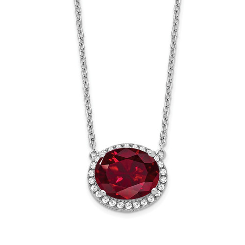 Lex & Lu 14k White Gold Created Ruby and Diamond Necklace LAL3478 - Lex & Lu