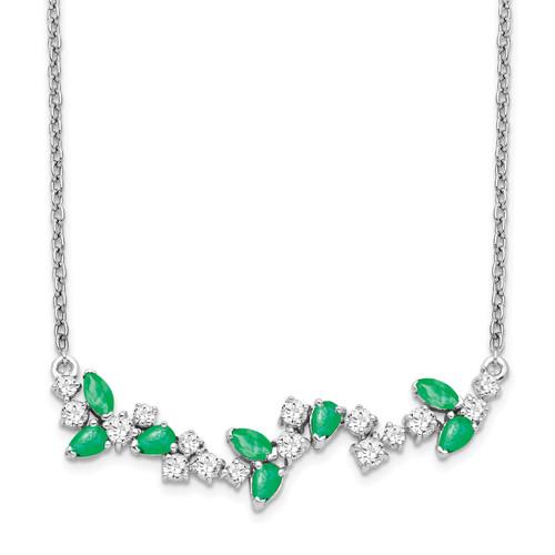 Lex & Lu 14k White Gold Emerald and Diamond Necklace LAL3487 - Lex & Lu