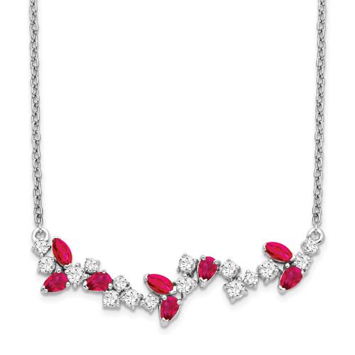 Lex & Lu 14k White Gold Ruby and Diamond Necklace LAL3488 - Lex & Lu