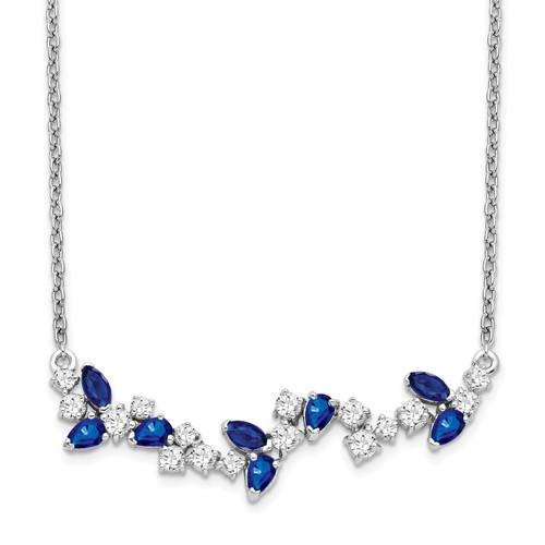 Lex & Lu 14k White Gold Sapphire and Diamond Necklace LAL3489-Lex & Lu