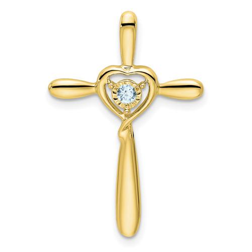 Lex & Lu 10k Yellow Gold Aquamarine Cross Pendant - Lex & Lu