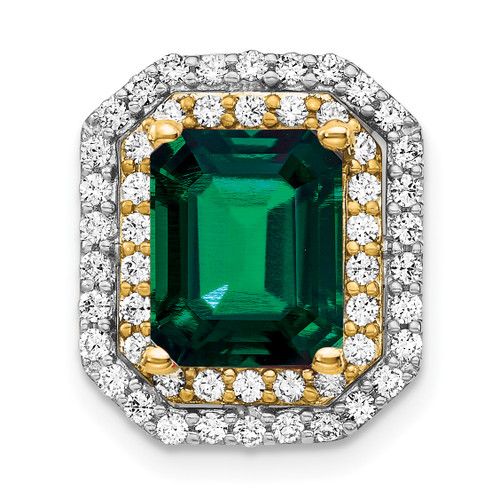 Lex & Lu 14k Two-tone Gold Lab Grown Diamond & Created Emerald Pendant LAL3674-Lex & Lu