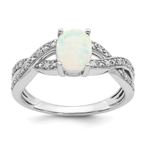 Lex & Lu  14k White Gold Created Opal and Diamond Ring LAL3928-Lex & Lu