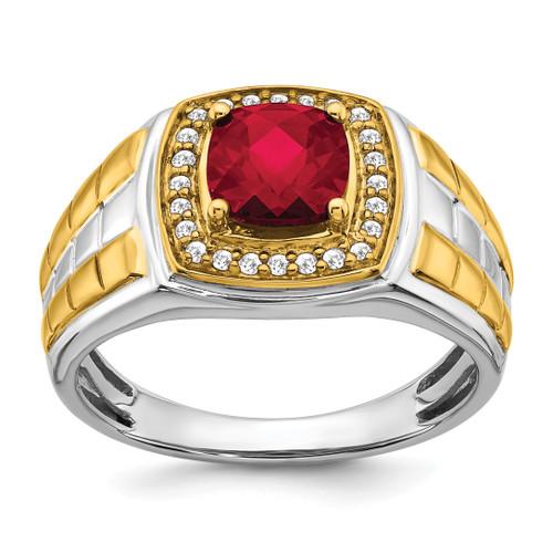 Lex & Lu 14k Two-tone Gold (w&y) Created Ruby & Diamond Men's Ring LAL4813-Lex & Lu