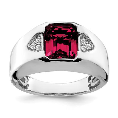 Lex & Lu 14k White Gold Created Ruby & Diamond Men's Ring LAL4815 - Lex & Lu