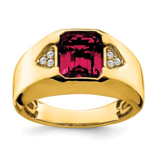 Lex & Lu 14k Yellow Gold Created Ruby & Diamond Men's Ring LAL4816 - Lex & Lu