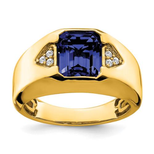 Lex & Lu 14k Yellow Gold Created Sapphire & Diamond Men's Ring LAL4818 - Lex & Lu