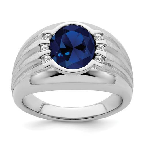 Lex & Lu 10k White Gold Created Sapphire & Diamond Men's Ring - Lex & Lu