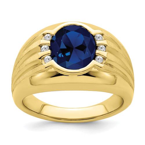 Lex & Lu 10k Yellow Gold Created Sapphire & Diamond Men's Ring - Lex & Lu