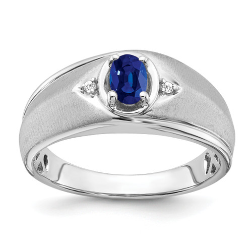 Lex & Lu 14k White Gold Sapphire & Diamond Men's Ring LAL4826 - Lex & Lu