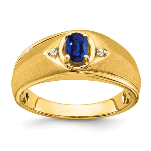 Lex & Lu 14k Yellow Gold Sapphire & Diamond Men's Ring LAL4827 - Lex & Lu
