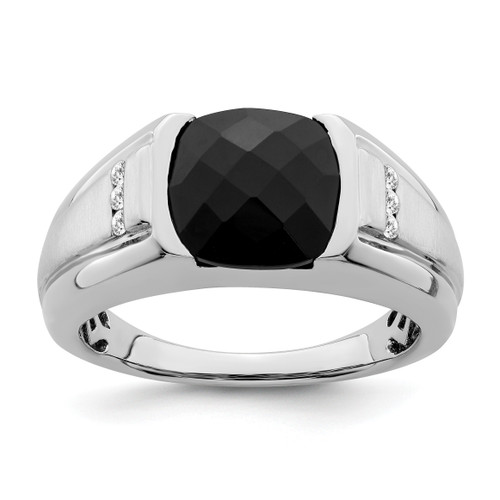 Lex & Lu 14k White Gold Onyx & Diamond Men's Ring LAL4828 - Lex & Lu