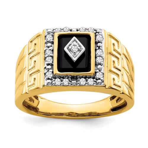 Lex & Lu 14k Yellow Gold Onyx & Diamond Men's Ring LAL4830 - Lex & Lu