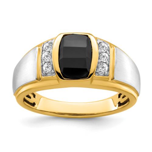 Lex & Lu 14k Two-tone Gold (Y&W) Onyx & Diamond Men's Ring - Lex & Lu