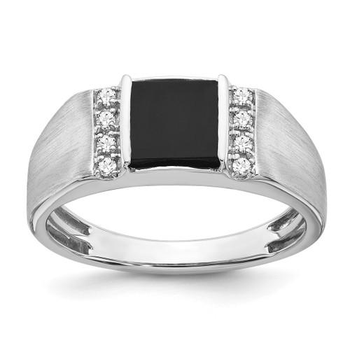 Lex & Lu 14k White Gold Onyx & Diamond Men's Ring LAL4833 - Lex & Lu