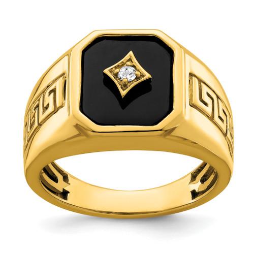 Lex & Lu 14k Yellow Gold Onyx & Diamond Men's Ring LAL4836 - Lex & Lu