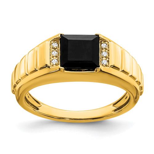 Lex & Lu 14k Yellow Gold Onyx & Diamond Men's Ring LAL4838 - Lex & Lu
