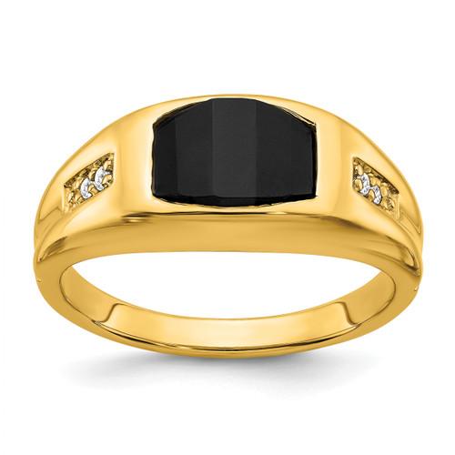 Lex & Lu 14k Yellow Gold Onyx & Diamond Men's Ring LAL4839-Lex & Lu