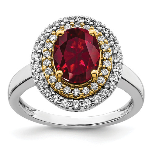 Lex & Lu 14k Two-tone Gold Lab Grown Diamond & Created Ruby Ring LAL4844-Lex & Lu