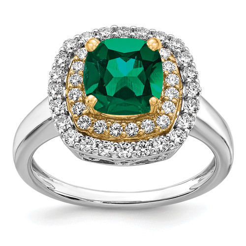 Lex & Lu 14k Two-tone Gold Lab Grown Diamond & Created Emerald Ring LAL4847-Lex & Lu